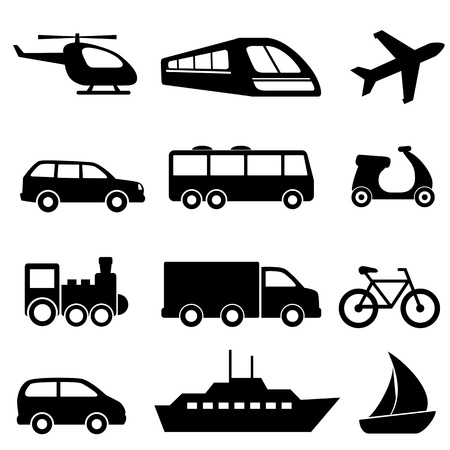 Photo pour Icons for various means of transportation - image libre de droit