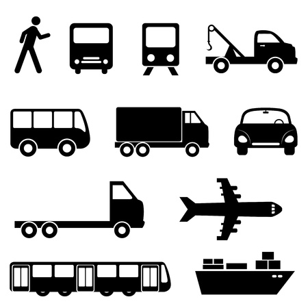 Foto de Transportation icon set in black - Imagen libre de derechos