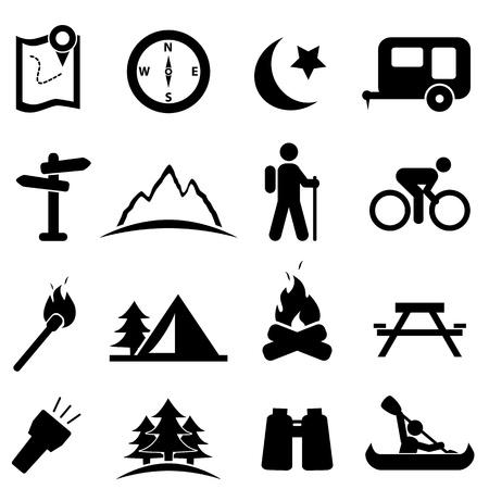 Illustration pour Camping and recreation icon set - image libre de droit