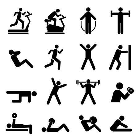 Ilustración de People exercising for health and fitness - Imagen libre de derechos