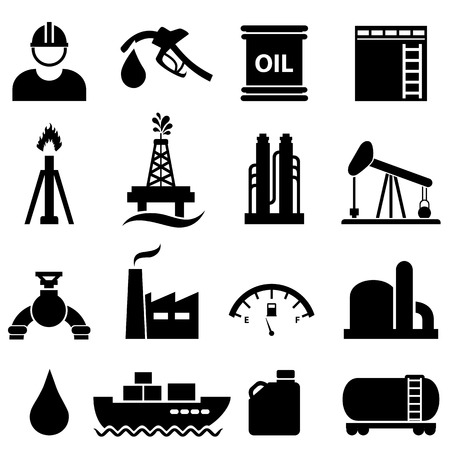 Ilustración de Oil, gasoline and petroleum related icon set - Imagen libre de derechos