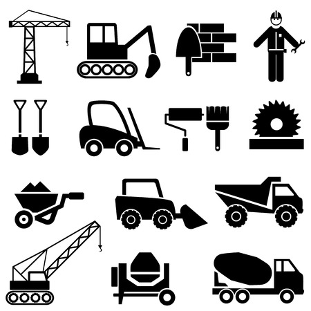 Illustration pour Construction and industrial machinery icon set - image libre de droit