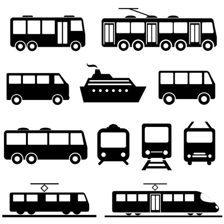 Ilustración de Bus, ship, train public transportation icon set - Imagen libre de derechos