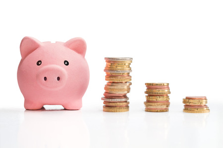 Photo pour money saving and money tower  - image libre de droit