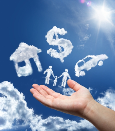 Photo pour dreams in the sky  car,home,money and family  - image libre de droit