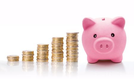 Photo pour Piggy bank with euro coin stacks - concept of increase  - image libre de droit
