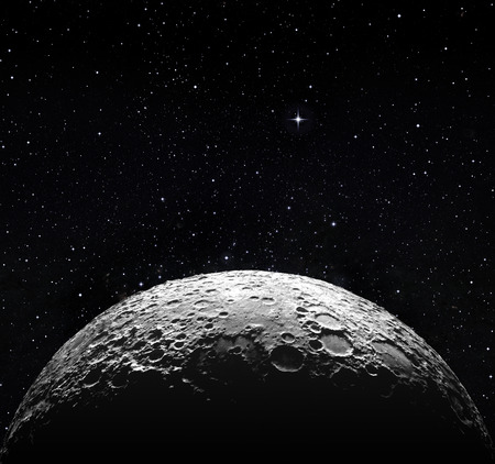 Foto de half moon surface and starry space  - Imagen libre de derechos