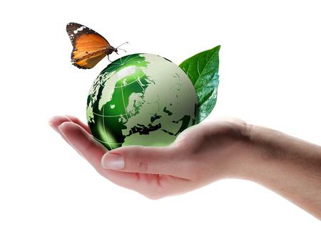 Foto de eco-friendly concept - butterfly on planet in hand  - Imagen libre de derechos