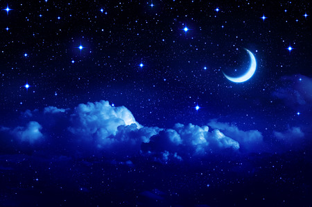 Photo pour starry sky with half moon in scenic cloudscape  - image libre de droit