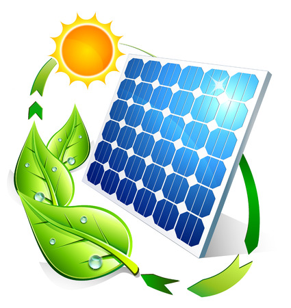 Illustration pour Photovoltaic concept - panel leaves and sun  - image libre de droit