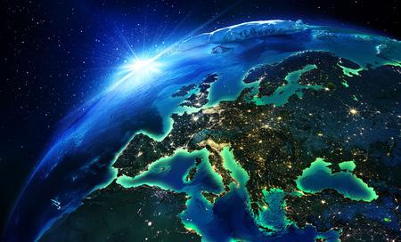Photo pour land area in Europe the night  - image libre de droit