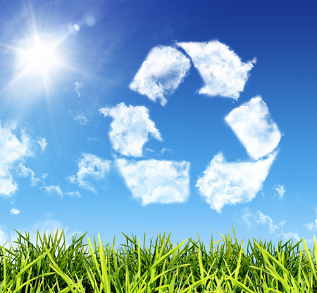 Photo for cloud-shaped icon recycling - Royalty Free Image