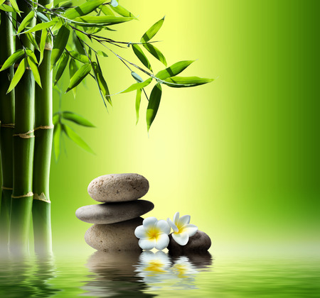 Photo for spa background with bamboo and stones on water - Royalty Free Image