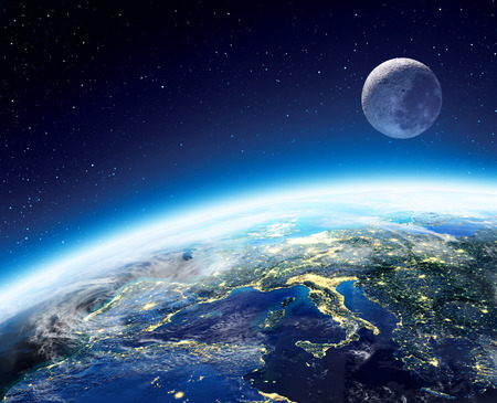 Photo pour Earth and moon view from space at night - Europe - image libre de droit