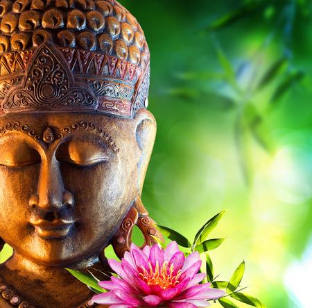 Foto de Oriental background with buddha, lily and bamboo - Imagen libre de derechos