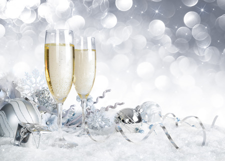 Photo for toast with silver christmas decoration - Royalty Free Image