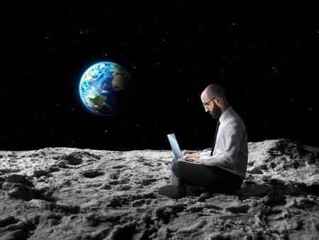 Foto de remote work or global wi-fi internet connection - Imagen libre de derechos