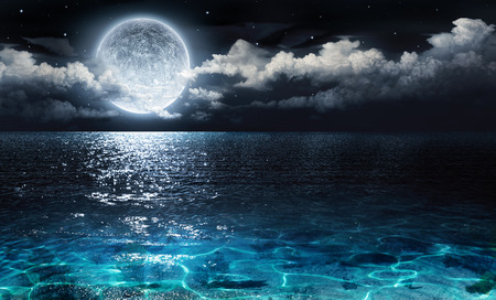 Foto de romantic and scenic panorama with full moon on sea to night - Imagen libre de derechos
