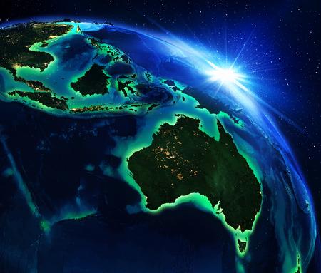 Foto de land area in Australia and Indonesia the night - Imagen libre de derechos