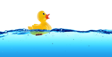 Photo for Rubber duck float in water - Royalty Free Image