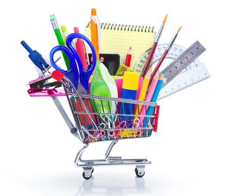 Photo pour school supplies in shopping cart - back to school - image libre de droit