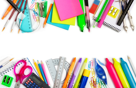 Foto de School supplies double border on white background - Imagen libre de derechos