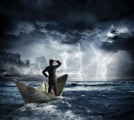 Foto de dollar boat in the bad weather - Imagen libre de derechos