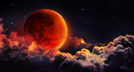 Foto de moon eclipse - planet red blood with clouds - Imagen libre de derechos