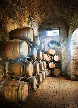 Photo for Cellar With Barrels For Storage Of Wine - Royalty Free Image