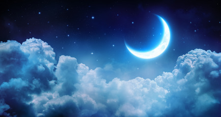 Foto de Romantic Moon In Starry Night Over Clouds - Imagen libre de derechos