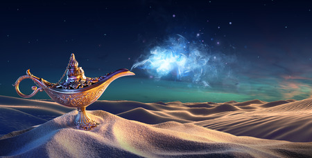 Photo pour Lamp of Wishes In The Desert - Genie Coming Out Of The Bottle - image libre de droit