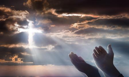 Photo pour Crucifix From Heaven - Faith And Prayer - image libre de droit