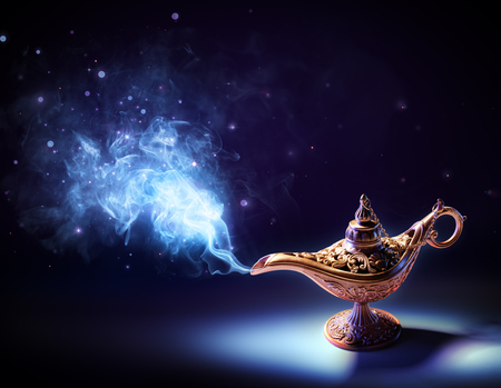 Foto de Lamp Of Wishes - Magic Smoke Coming Out Of The Bottle - Imagen libre de derechos