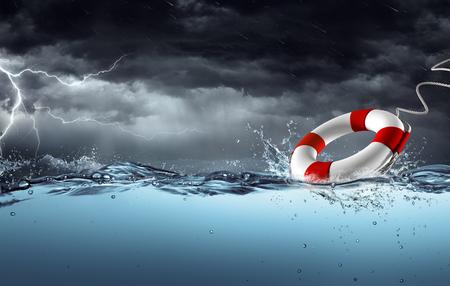 Foto de Sos - Lifebelt In The Storm - Help Concept - Imagen libre de derechos