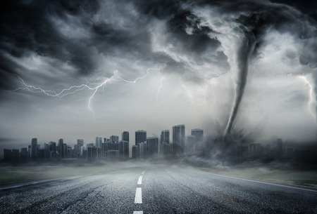 Photo pour Tornado On The Business Road - Dramatic Weather On City - image libre de droit