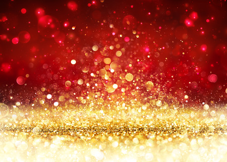 Photo pour Christmas Background - Golden Glitter On Shiny Red - image libre de droit