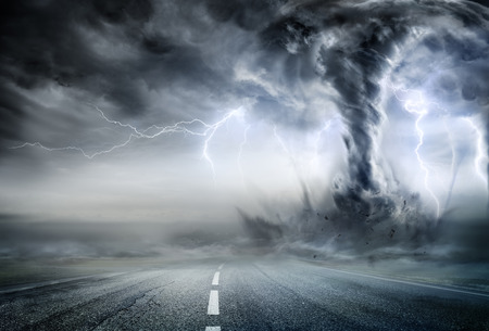 Photo for Powerful Tornado On Road In Stormy Landscape - Royalty Free Image