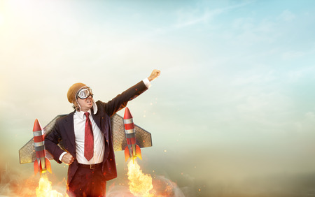 Foto de Aviator Businessman With Jetpack On His Back - Startup Concept - Imagen libre de derechos