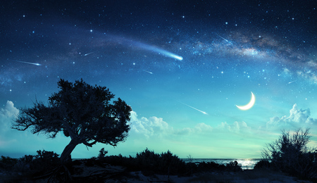 Photo for Shooting Stars In Fantasy Landscape At Night - Royalty Free Image