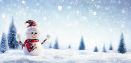 Photo pour Snowman In Wintry Landscape - image libre de droit