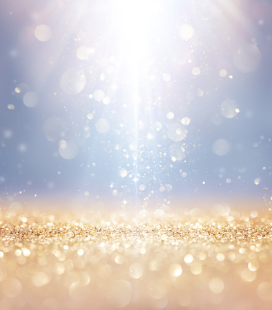 Photo for Christmas Shiny - Lights And Stars Falling On Golden Glitter - Royalty Free Image