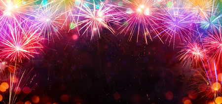Foto de Celebration With Frame Of Colorful Fireworks - Imagen libre de derechos