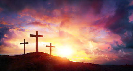 Photo for Crucifixion Of Jesus Christ At Sunrise - Three Crosses On Hill - Royalty Free Image