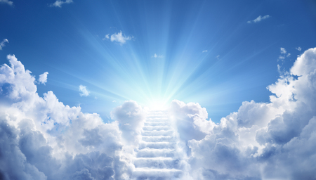 Photo pour Stairway Leading Up To Heavenly Sky Toward The Light - image libre de droit