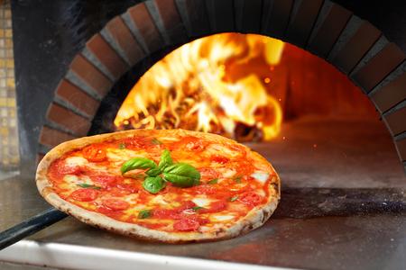Photo pour Hot Margherita Pizza Baked In Oven - image libre de droit