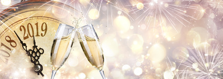 Photo for New Year 2019 - Toast with champagne and clock - Royalty Free Image
