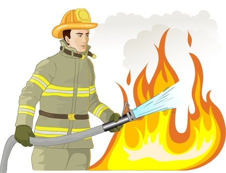 Firefighter with a fire hose against a fire
