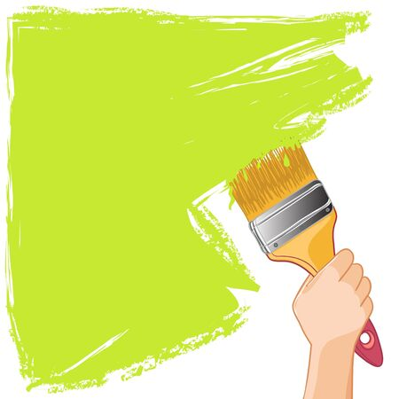 Illustration pour Hand with brush paints the wall - image libre de droit