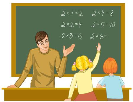 Illustration pour Teacher at blackboard explains children mathematics - image libre de droit