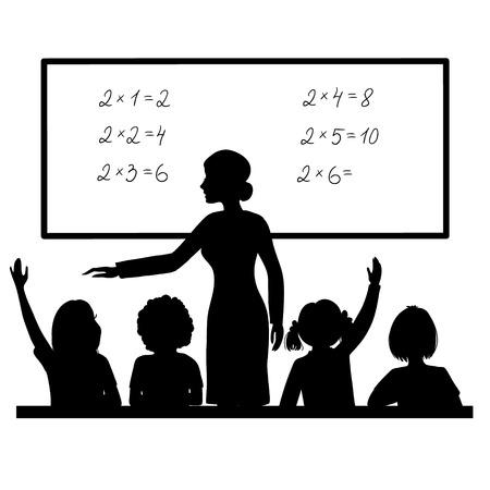 Illustration pour Teacher at blackboard in the classroom with children - image libre de droit